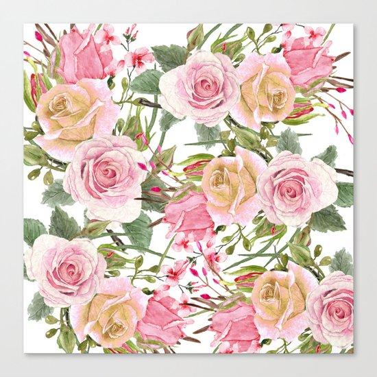 Watercolor Roses #1 Canvas Print