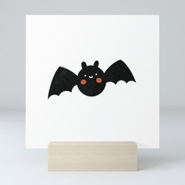 Black and White Halloween Bat Pattern  Mini Art Print