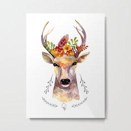 Deer watercolor with flowers. Floral hipster design. Metal Print