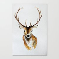 craftberrybush Canvas Prints featuring Buck - Watercolor by craftberrybush