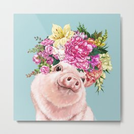 Flower Crown Baby Pig in Blue Metal Print