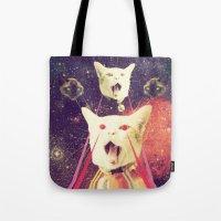 saga Tote Bags featuring galactic Cats Saga 4 by Carolina Nino