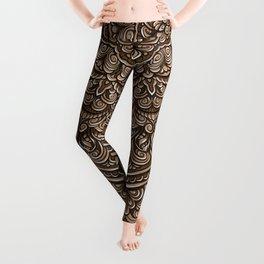 Brown colors mandala Sophisticated ornament Leggings