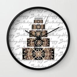Black and Rose Gold Mandala Birthday Cake and Candles Wall Clock