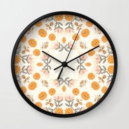 Modern Vintage Orange Blossoms Wall Clock