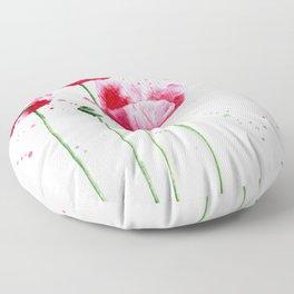 Expressive poppies    watercolor Floor Pillow