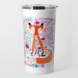 Folk Art Forest Fox Travel Mug
