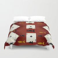 poker Duvet Covers featuring Poker Sharks by Pepita Selles