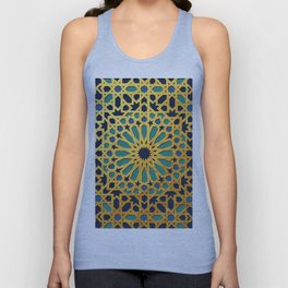 -A1_2- Golden Original Traditional Moroccan Artwork. Unisex Tank Top