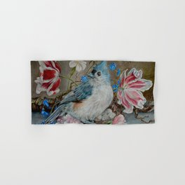 Blue Titmouse and Bee with floral still life Hand & Bath Towel
