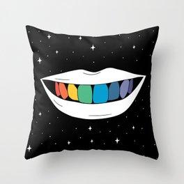 Rainbow teeth Throw Pillow