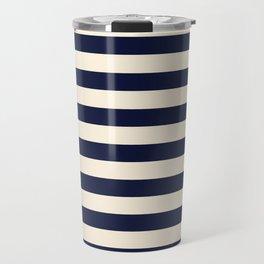 Navy Ivory Bold Stripes Travel Mug