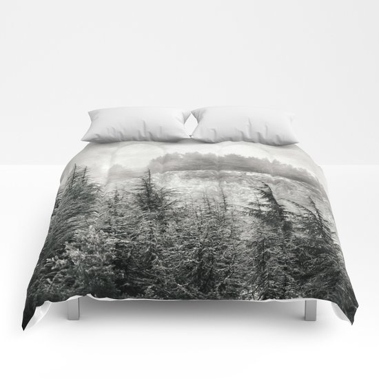 """Mountain light"". Foggy forest. Comforters"