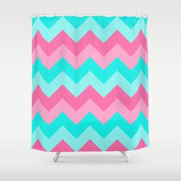 Hot Pink Turquoise Aqua Blue Chevron Zigzag Pattern Print Shower Curtain