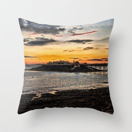 Birnbeck Pier and island Weston-super-Mare Throw Pillow