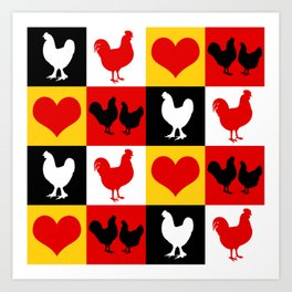 American Poultry Roosters and Hens Art Print