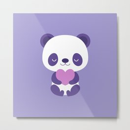 Cute purple baby pandas Metal Print