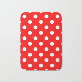 Polka Dots - White on Red Bath Mat