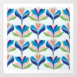 Bold, stylised, Scandinavian inspired floral pattern Art Print