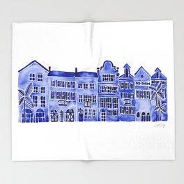Row of Houses – Navy Palette Throw Blanket