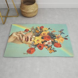 Baby's in bloom - Rainbow, flowers, birds & butterflies Rug