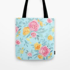 Chalk Pastel Pink & Orange Roses on Sky Blue Tote Bag