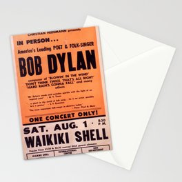 Vintage 1965 Waikiki Shell Hawaii Bob Dylan Concert Poster Stationery Cards