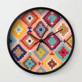 Bright Kilim Wall Clock