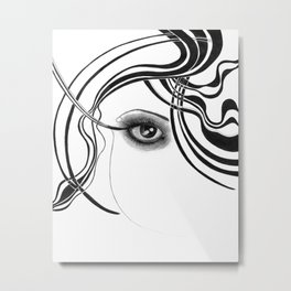 Fashion girl with smoky eyes Metal Print