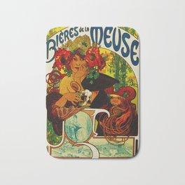 Vintage Art Nouveau Beer Ad Bath Mat