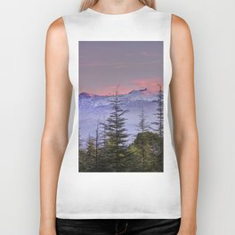 Pink sunset at the snowy mountain. Yesterday Biker Tank
