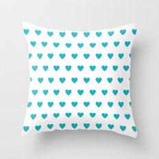 Turquoise polka dot hearts Throw Pillow