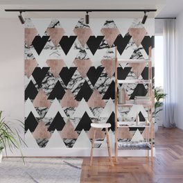 Modern Black White Rose Gold Triangles on Marble Wall Mural