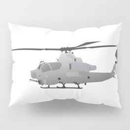 American Grey Attack Helicopter Pillow Sham