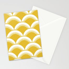 Japanese Fan Pattern Mustard Yellow Stationery Cards