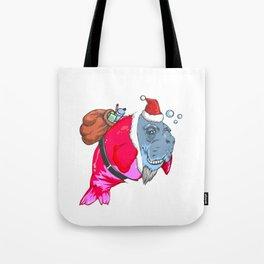 Santa Christmas Mermaid Funny Santa Manatee Tote Bag