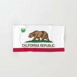 California Republic state flag with green Cannabis leaf Hand & Bath Towel