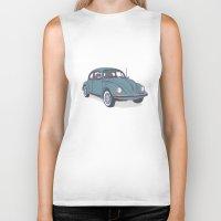 vw Biker Tanks featuring VW Beetle by Lara Trimming