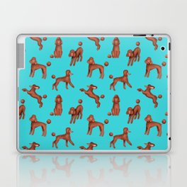 Chocolate Poodles Pattern  (Turquoise Background) Laptop & iPad Skin