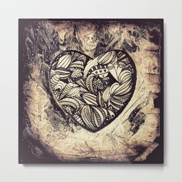 grungy heart Metal Print