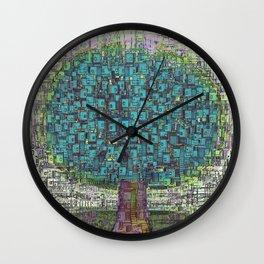 Tree Town - Magical Retro Futuristic Landscape Wall Clock