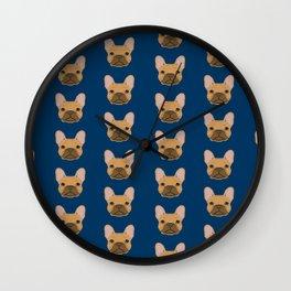 French Bulldog fawn coat dog head cute pet portrait custom dog breeds Wall Clock