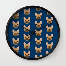 French Bulldog fawn coat dog head cute pet portrait custom dog breeds Wall Clock