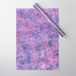 Purple and faux silver swirls doodles Wrapping Paper
