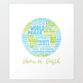 Vision of Earth - World Cloud Art Print