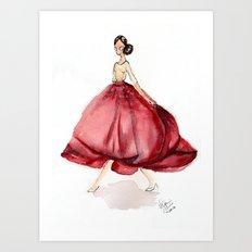 Red Fashion Watercolor Model Art Print