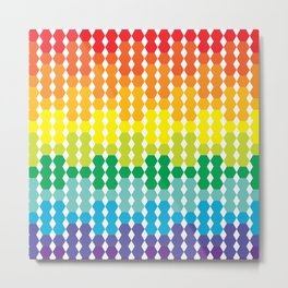Rainbow Hex Gradient Metal Print