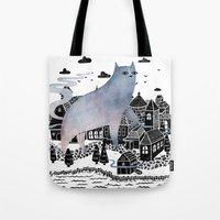 fog Tote Bags featuring The Fog by littleclyde