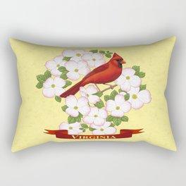 Virginia State Cardinal Bird and Flowering Dogwood Rectangular Pillow