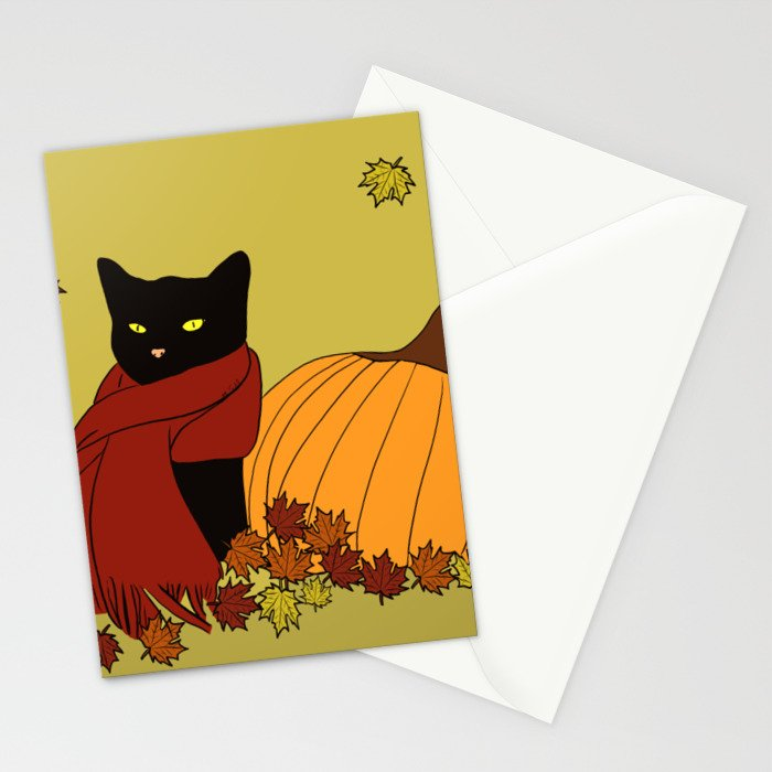 Cascade The Black Cat Welcomes Fall Stationery Cards